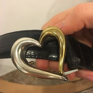Gold and silver heart buckle belt